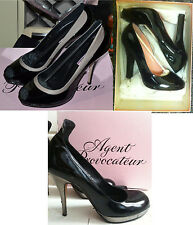 Agent Provocateur Shoes 7 7.5 High Heels Black Grey Pewter New in Box Used BNIB