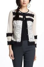 2-4 Anthropologie Agraffe Cardigan, Black Ivory Cotton Lace Topper By Leifnotes