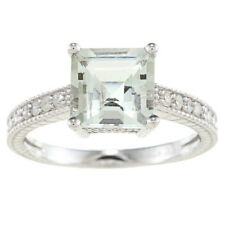 Sterling Silver Vintage Style Square Green Amethyst and Diamond Ring (1/5 TDW)