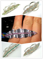 Vintage Art Deco style leaf double finger ring multiple choices
