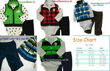 * NWT NEW BOYS 3PC CARTERS VEST WINTER OUTFIT SET NB 3M 6M 18M