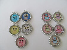 Owls with Mustache  Bottle Cap on 18 in ball chain necklace - Lot of 5