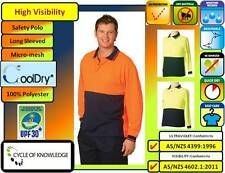 CoolDry Safety Workwear; Hi Vis; Long Sleeve Polo Shirt; S to 7XL