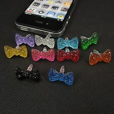 3.5mm Crystal Bowknot Anti Dust earphone Plug Stopper For iPhone 4/S HTC Samsung