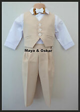 Baby Boy Wedding Christening Beige Smart Suit 5 Piece Outfit Special Occasion