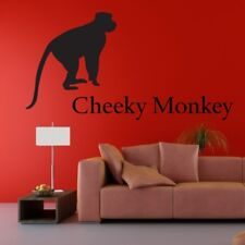 CHEEKY MONKEY sticker quote personalised decal kid jungle name wall art stickers