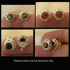 BALTIC CHERRY, HONEY or GREEN AMBER & STERLING SILVER STUD EARRINGS