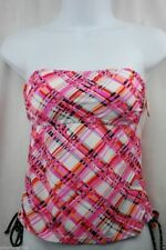 SO Bright Pink/Orange/White/Black Plaid Tube Tankini Top MSRP $32