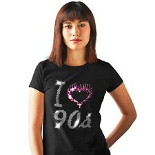 I LOVE NINETIES 90s LADIES FITTED T SHIRT WITH CRYSTAL DESIGN(any size 8 to 18)
