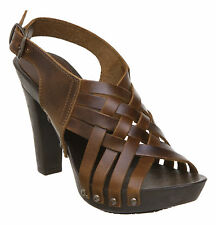 NEW DUNE LADIES LATTICE WOMENS TAN BROWN CROSS STRAPS CLOG HEELED SHOES SIZE 3-8