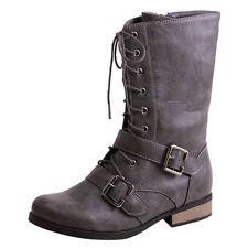 NEW WOMEN'S SHORT LACE UP MILITARY COMBAT STRAPPY BUCKLED LOW HEEL BOOTS GRAY
