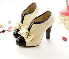 Fashion WOMEN'S SEXY HIGH HEEL BEIGE TIE FASHION ANKLE SHOES size US5-9.5 H1
