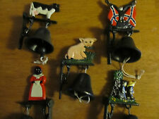 Cast Iron Wall Mount Indoor Outdoor Dinner Bell Farmer Pig Cow Flag & More