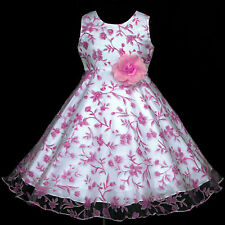 UkG Pink Flower Hotpink White piw382 Wedding Party Bridesmaids Girls Dress 2-12y