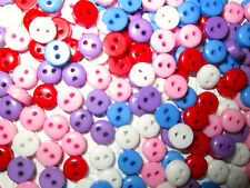 6mm buttons Choice of Colour. 50 or 100.  Dolls embellishment scrapbooking cards