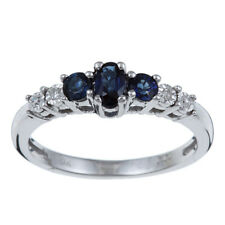 10k White Gold 3 Three Stone Genuine Blue Sapphire and Diamond Ring