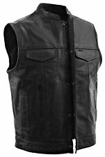 Men's SOA Leather Club Cut Vest w/ Zipper & Snap Front & Two Inside Gun Pockets