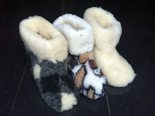 Womens Mens 100% Pure Sheep Wool Slippers Boots Sheepskin soft sole
