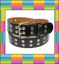 Two 2 Double Row Leather Belt with Silver Grommet Holes & Buckle Black Brown ...