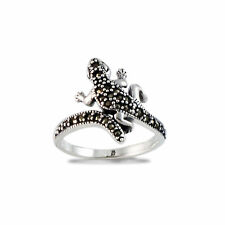 925 Sterling Silver Vintage Style Marcasite Lizard Gecko Ring
