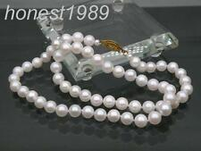 "GORGEOUS 7-7.5mm AAA+ round white akoya pearl necklace 14K yellow gold 18"" 22"""