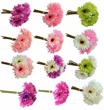 27cm - 6 Individual Stem Pink Lilac Green Cream Gerbera Posy Artificial Flowers