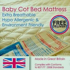 New Breathable Baby / Toddler Cot Bed Foam Mattress / Quilted Cover - All Sizes