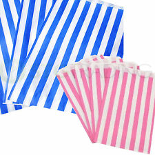 "CANDY STRIPE PAPER PICK AND MIX SWEET BAGS PINK/WHITE BLUE/WHITE 5x7"" 7x9"" INCH"