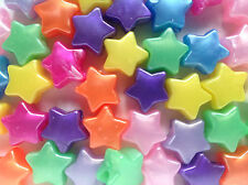 50 x Star Shape Pony Beads Pearl Finish 13mm Hole 4mm - Choose Your Colour