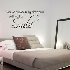 DRESSED WITHOUT A SMILE wall sticker quote bedroom bathroom wall decal