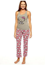Womens Sanrio HELLO KITTY TANK TOP PAJAMA SET 2 Pc Summery Knit PJ PINK GRAY
