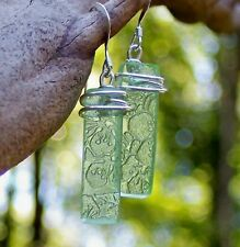 Eco Friendly Depression Glass Rectangle Earrings