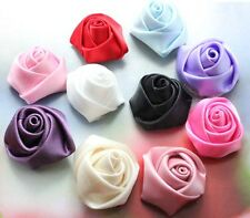 10pc/40pc satin Ribbon Rose Bud Applique 2cm DIY Dress/Wedding decora D565-D575