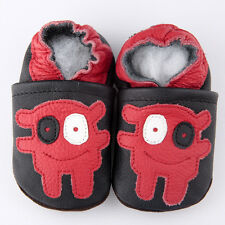 Baby Boy Infant Soft Sole Leather Shoes Black Red Robot B12 US0-7  0-6-12-18-24M