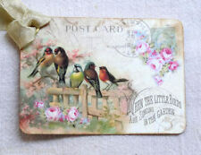 Hang Tags LITTLE BIRDS ON FENCE POSTCARD TAGS or MAGNET #22  Gift Tags