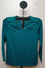 JMS - Teal Long Sleeve V Neck Shaped Fit Ruffled Knit Top - Sizes 1X - 2X - 4X