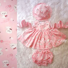 #C1 HANDMADE Baby Girl Dress + Hat + Bloomers Pink with Cats Pattern 0-24 Months