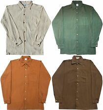 Hemp Button Down Dress Shirt: White Green Light/Dark Brown men's S M L XL XXL
