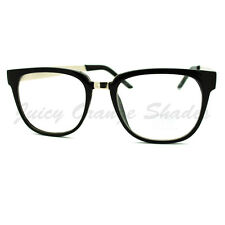 Clear Lens Eyeglasses Metal & Plastic Horn Rim Frame Fashion Glasses