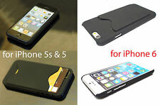 Hard Rubber ID Credit Card Holder Slot Wallet Case Cover for Apple iPhone 5s 5