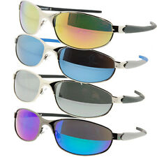 Mens Sunglasses Mirror Lens Sport Wrap Frames Vibrant Mirrored Color