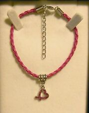 NEW PLAITED LEATHER BRACELET WITH TICKLED PINK OR BREAST CANCER INSPIRED CHARMS