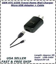 OEM HTC U250 Travel Home Wall Charger Micro USB Adapter + Cable HTC - PART 3