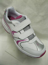 Girls Clarks Fluency Jet Junior  White Leather Velcro Fastening Trainers.