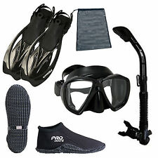 Ocean Explorer Snorkeling Set, Boots Mask Fins Snorkel & Bag, Diving Gear BK S13