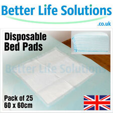 25 Disposable Incontinence Bed Pads | 60 x 60cm High Quality Sheets | SAP 5 1L