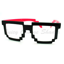 PIXEL Pixelated Clear Lens Glasses Cool Party Raver Novelty Eyeglasses