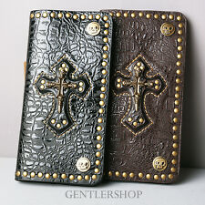 Mens Fashion Skull-Cross Leather Long Wallet Vintage Motrocycle,GENTLERSHOP
