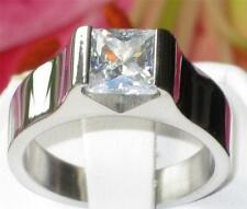 STR358W WIDE  2.2CT PRINCESS CUT SIMULATED  DIAMOND RING STAINLESS STEEL 316L