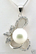 10-10.5MM White Freshwater Cultured Pearl Pendant & Chain, 925 Sterling Silver